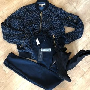 Michael Kors Leopard Print Lined Bomber in XS